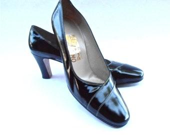Vintage Black Patent Leather Spectator High Heel Pumps White Stitch Trim Ferragamo Designer Shoes Ladies U.S Size 9.5 AA Italian Italy Flint