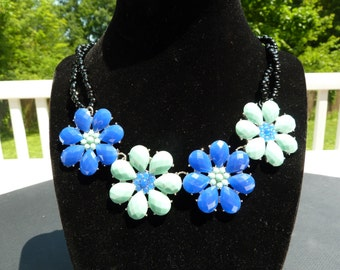 Blue Flower Statement Necklace