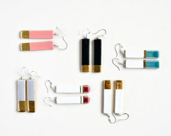 Geometric bar earrings - ceramic long earrings - sterling silver earring hoops - ceramic jewelry - 24K gold