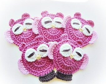 Strong Pink Mimis Crochet Owls-Set of 5