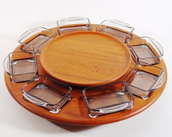 Mid Century Modern Teak Bi-Level Tray, Rotating Lazy-Susan by Digsmed, Holmegaard Glass Inserts, Midcentury Fondue Server, Danish Modern