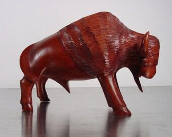 Mid century Bison Bull, Carved Teak Sculpture, Midcentury Modern Danish Modern
