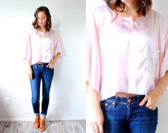 Vintage boho silk lace crop top // pink silk blouse // slouchy top // summer boho blouse // silky pink blouse // nighty top // lace pink top