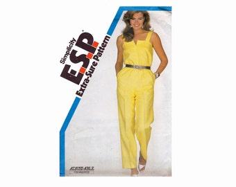 1980s Jumpsuit Sewing Pattern UNCUT Sizes 12 14 16 Bust 34 36 38 Simplicity 5825 ESP Extra Sure Pattern Summer Jumpsuit 80s pattern