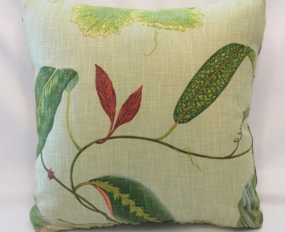 Celery Green Throw Pillow : Leaves and Bugs Pillow Pale Celery Green Throw by PillowDetails
