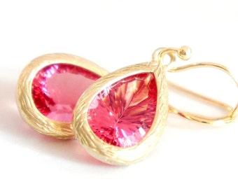 Pink Faux Gemstone Rhinestone Drop Dangle Earrings - Wedding Jewelry - GLE002