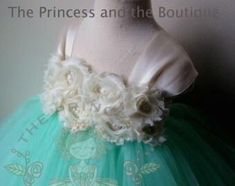 flower girl dress mint, flower girl dress ivory, flower girl dress, girls dresses, tutu dress, birthday ourfit girl, mint flower girl dress