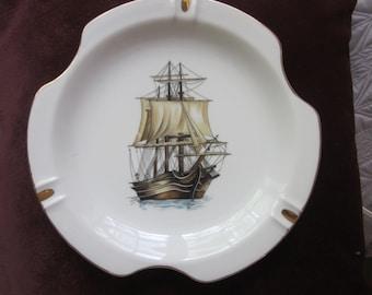 very large ashtray, sailing ship,,nautical