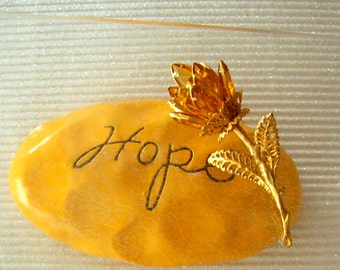 Yellow Rose of Texas in faux Topaz Stones Mid Century Vintage 60s