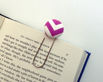 Oversized Paperclip Bookmark. Purple and White Chevron. Teacher Gift. Graduation Gift. Ready to Ship.