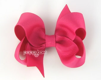 Shocking Pink Hair Bow - Baby Toddler Girl - Solid Color 3 Inch Boutique Bow on Alligator Clip Barrette