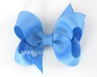 Medium Blue 3 Inch Boutique Hair Bow - Baby Toddler Girl - Solid Color Hair Clip - Medium Dark Sky Blue