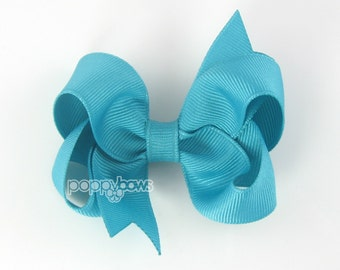 Caribbean Blue Turquoise Hairbow 3 Inch Boutique Hair Bow - Baby Toddler Girl - Solid Color Hair Clip - Bright Ocean Turquoise