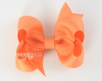 Light Orange Hair Bow - Baby Toddler Girl - Solid Color 3 Inch Boutique Bow on Alligator Clip Barrette Apricot