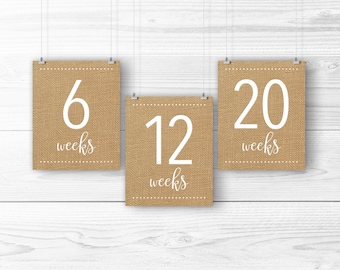 Burlap Pregnancy Countdown Signs -- Brown Burlap and White, Biweekly Pregnancy Boards, Photo Prop, Instant Download, 8x10 Printable Files