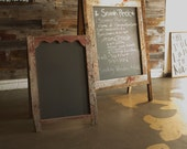 Hand Crafted A-Frame Chalkboard - Authentic barn wood - Double sided rustic ornate sandwich board