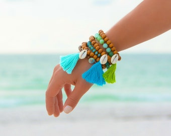 Beach Bracelet Set Boho Bracelet Beach Boho Bracelet Beaded Bracelet Shell Bracelet Beach Jewelry Boho Jewelry Tassel Wood Bracelet Jewelry