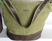 Large Hobo Bucket Bag Handbag / Slouchy Shoulder Bag / Leaf Green Grasscloth & Leather / Swoon Patterns Bonnie