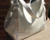 Large Tote Bag Handbag / Grey Linen Shoulder Bag / Metallic Champagne Leather / Swoon Patterns Charlotte City Tote