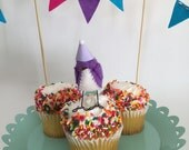Mini Birthday Bird with Bunting : Purple - MADE TO ORDER!