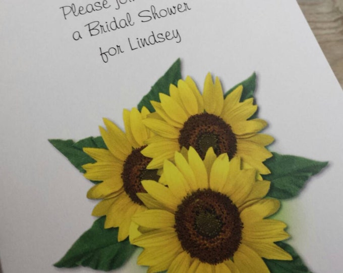 Beautiful Sunflower Trio Sunflowers Invitations Thank You Cards Note Cards for Birthday Bridal Shower Wedding Anniversary Party
