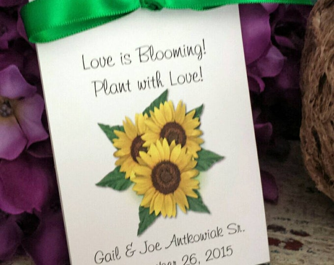Personalized Sunflower Wedding Favor Flower Anniversary Seeds Party Engagemnt Parties CIJ SALE CIJ Christmas in July