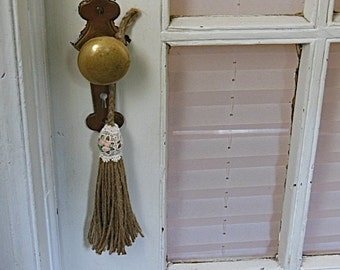 shabby tassel, rustic home decor, door knob tassel, large size