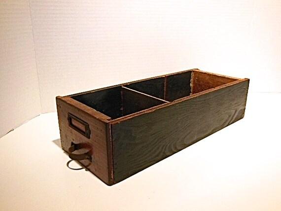divided wood drawer wood storage box rustic organizer man. Black Bedroom Furniture Sets. Home Design Ideas