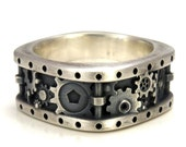 Steampunk Gear Ring Square Gear and Rivets Ring - Distressed Silver Industrial Gear Ring