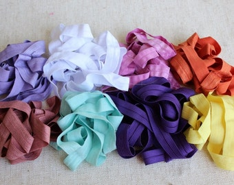 Fold over elastic 8   colors 2 yards of each color 5/8 wide