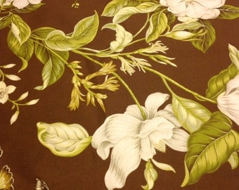 Colonial Williamsburg Fabric - Garden Images II - Magnolias, Leaves on Dark Brown by Waverly