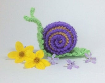 CROCHET PATTERN snail,  PDF pattern, amigurumi snail pattern, snail toy, snail pattern, garden slug, creature, mollusca, rose