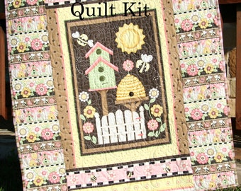 SALE Panel Quilt Kit Quick Easy Fun Beginner Project Let It Bee Shelly Comiskey Henry Glass Fabrics DIY Do it Yourself, Birdhouse Honey Bee