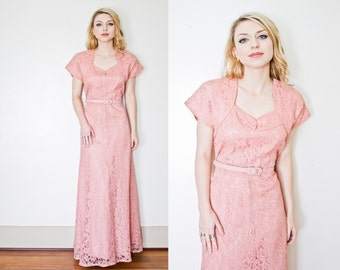 Vintage 1950s Dress - Blush Pink Lace Full Length Party Formal Wedding 40s - 50s - Large