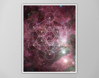 Sacred Geometry Poster, Outer Space Art Print, Purple Galaxy Nebula Star Print, Home Decor, Sacred Geometry Art Print, Sacred Geometry Print
