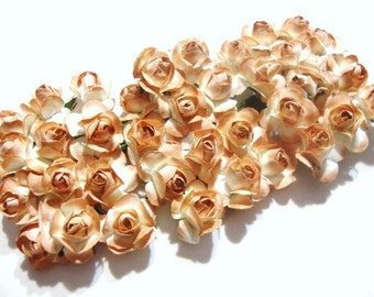 Light Brown and White Mulberry Paper Roses Flowers-3 bunches