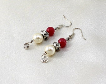 Pink Jade and Pearl Earrings with Handmade Dangles.  Hypoallergenic.  Sassy.