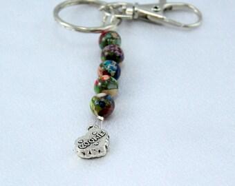 Clearance.  Key Ring. Purse Charm.  Gemstone Keychain.