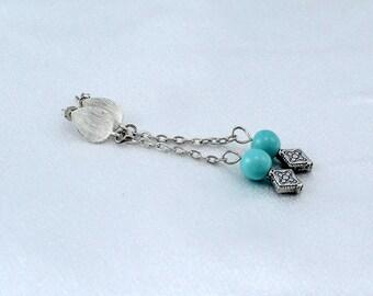 Turquoise earrings dangle, sterling silver posts, hypoallergenic earrings, sensitive ears
