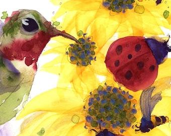 Large Fine Art Print of Sunflowers, Hummingbird and Ladybugs, 12 x 16 Fine Art Print
