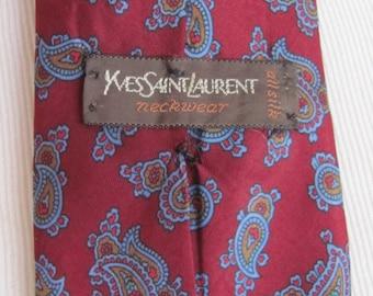 YSL Yves Saint Laurent - Mens Burgundy Red Silk Neck Tie Designer