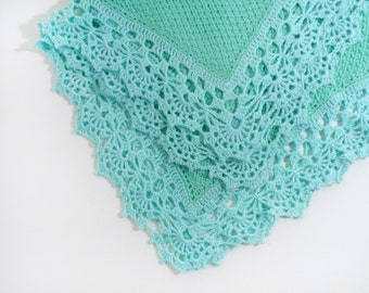 Knitted Baby Blanket - Aqua Blue and Mint Green