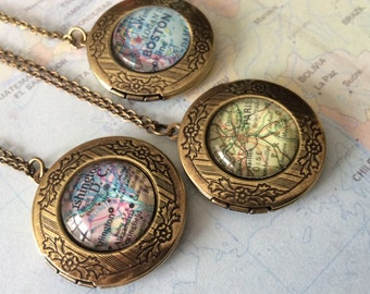 Custom MAP LOCKET Necklace / Unique Gift  / You Pick The Location / Vintage map / Antique Bronze / Gift boxed / Personalized Map Jewelry