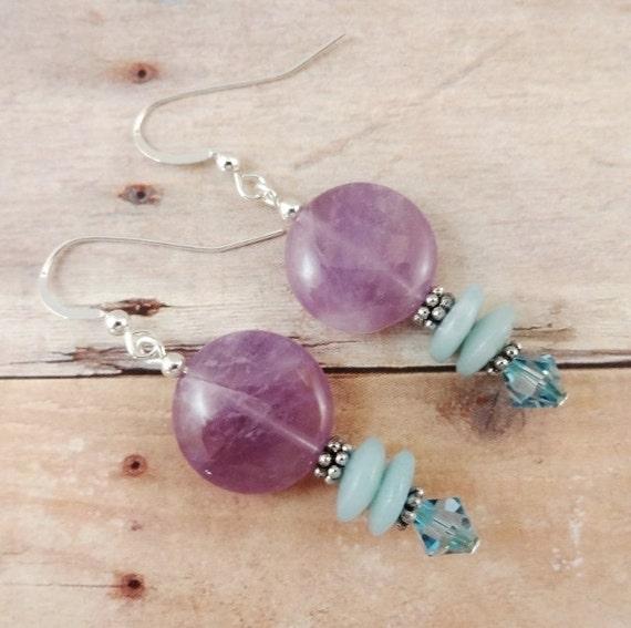 Amethyst Earrings, Amazonite and Amethyst Jewelry, February Birthstone Earrings, Birthstone Jewelry, Lavender, Aqua, Pastel Earrings