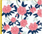 Design Your Own -Navy and Pink Peony Floral -  changing pad cover, rail covers, boppy covers, crib sheet, crib skirt, bumpers