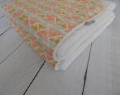 Deluxe Crib/Toddler Blanket - Aztec Triangles with White Minky AND Boppy Cover