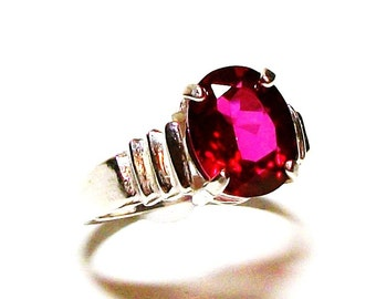 "Red topaz, red topaz ring, solitaire ring, red,   s7     ""Stephanie's"""