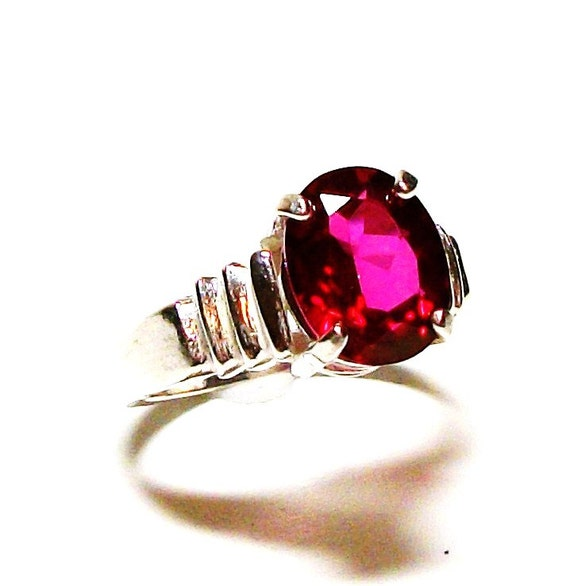 """Red topaz, red topaz ring, solitaire ring, red,   s7     """"Stephanie's"""""""