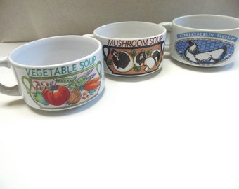 Vintage Soup Cups Mugs Vegetable Soups Ceramic Bowl Set Of Three