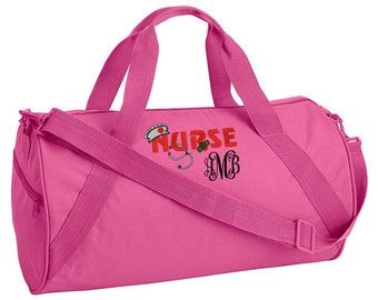 Monogram Duffel Bag Canvas Duffel Bag - Personalized Duffel Bag - Monogram Tote Bag - Nurse Tote - Nurse Gift - Nursing Bag
